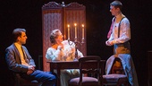 Zachary Quinto as Tom Wingfield, Cherry Jones as Amanda Wingfield and Brian J. Smith as the Gentleman Caller in The Glass Menagerie.