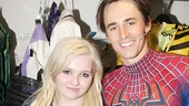 Abigail Breslin cozies up next to Spider-Man star Reeve Carney backstage at the Foxwoods Theatre.