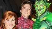 Spider-Man headliners Rebecca Faulkenberry, Justin Matthew Sargent and Robert Cuccioli (dressed as the dastardly Green Goblin) come together for a photo.