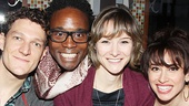Matilda gets Kinky! Matilda stars Gabriel Ebert, Jill Paice and Lesli Margherita get a visit from Kinky Boots star Billy Porter (second from l).