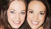 Broadway pals Laura Osnes (Cinderella) and Kara Lindsay (Newsies) flash bright smiles at the Broadway Flea Market.