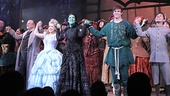 The 10th anniversary cast of Wicked join hands during the curtain call as the sold-out crowd at the Gershwin Theatre goes wild.