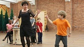 Caroline O'Connor (Miss Shields) and tiny tap sensation Luke Spring have an impressive dance-off.