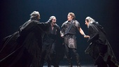 Malcolm Gets, John Glover & Byron Jennings as the Witches surround Ethan Hawke in Macbeth