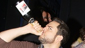 They really can't wait! Zachary Levi and Krysta Rodriguez get the party started backstage at the Longacre Theatre.