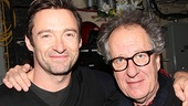 What a surprise! Backstage, the Tony winner runs into fellow Aussie Geoffrey Rush, who is reportedly hoping Jackman will star in his film adaptation of The Drowsy Chaperone.