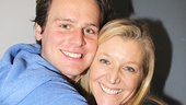 Mother and son reunion! Jonathan Groff hugs original off-Broadway mom Mary McCann.