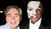 After the show, Phantom  composer Andrew Lloyd Webber greets Norm Lewis on stage.