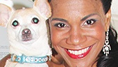 Lady Day star Audra McDonald and her adorable co-star Roxie flash big smiles. Happy 100th performance!