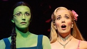 Caroline Bowman as Elphaba and Kara Lindsay as Glinda in Wicked