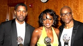 A radiant Viola Davis gets between her co-star Denzel Washington and Fela!'s Best Choreography winner Bill T. Jones.