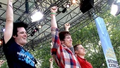 Idiot's leading men Michael Esper, John Gallagher Jr. and Stark Sands throw their fists in the air after a rocking performance.