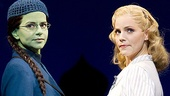 Mandy Gonzalez as Elphaba and Katie Rose Clarke as Glinda in Wicked.