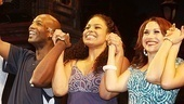 Castmates Clifton Oliver, Jordin Sparks, Bianca Marroquin join forces for their happy curtain call.