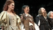 The audience howls with applause as Joanna Lumley, Mark Rylance, David Hyde Pierce step out for their curtain call.