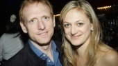 Marin Ireland gets an opening night hug from boyfriend—and star of the Public's epic Gatz—Scott Shepherd.