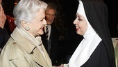 With a wide smile Angela Lansbury greets The Divine Sister's Julie Halston after a hilarious performance.