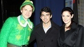 Backstage at Elf with Joe Jonas  Sebastian Arcelus  Joe Jonas  Ashley Greene 