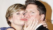 Its a pre-show smooch for gala co-director Cady Huffman and emcee Christopher Sieber.