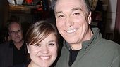 After stepping out of his menacing Green Goblin outfit, Patrick Page greets Kelly Clarkson.