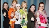 The stars of Mamma Mia pose with the Super Troupers from Sao Paulo. Tanyas Rachel Rapani and Stacia Fernandez, Donnas Kiara Sasso and Lisa Brescia, and Rosies Andrezza Massei and Jennifer Perry all cozy up together.
