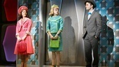 Rose Hemingway as Rosemary Pilkington, Mary Faber as Smitty and Daniel Radcliffe as J. Pierrepont Finch in How to Succeed in Business Without Really Trying.