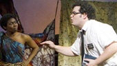 Josh Gad as Elder Cunningham and the cast of The Book of Mormon.