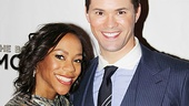 Nikki M. James grabs ahold of her leading man, Andrew Rannells.