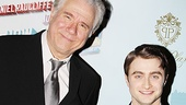 "At 6'5"", John Larroquette leans over to fit in the frame with co-star Daniel Radcliffe."