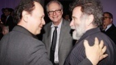 Billy Crystal and director Barry Levinson congratulate Robin Williams on his fantastic performance.