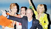 Dancing King! Mayor Bloomberg shows off some dance moves alongside Mamma Mia! leading ladies Judy McLane, Jennifer Perry and Lisa Brescia.