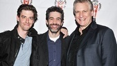 Actor Christian Borle and writer Rick Elice, who both earned Lortel noms for their work on Peter and the Starcatcher, happily flank Starcatcher co-star Kevin Del Aguila in a celebratory photo. Del Aguila also wrote songs for Best Musical nominee We the People: America Rocks!.