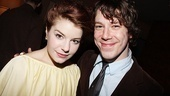 Aimee-Ffion Edwards smiles alongside co-star John Gallagher Jr.