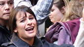 Glee star Lea Michele is back on Broadway (sorta)! The Spring Awakening veteran waves to fans as she heads inside Broadways Gershwin Theatre.