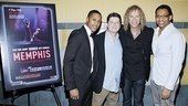 Memphis cast members Preston W. Dugger III, Michael McGrath, composer David Bryan and cast member Derrick Baskin are excited to see their show onscreen at NYCs Union Square Theatre. 