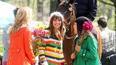 Glee gals Dianna Agron, Lea Michele and Jenna Ushkowitz make an equestrian friend. 
