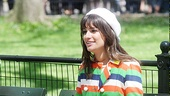 Lea Michele takes a seat on a Central Park bench.