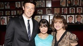Its a party with Patti LuPone for Cory Monteith and Lea Michele! The duo grabs a shot with the iconic actress after a busy morning of filming. 