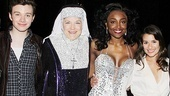 Glee stars Chris Colfer and Lea Michele congratulate the fabulous leads of Sister Act, Victoria Clark (Mother Superior) and Patina Miller (Deloris Van Cartier).