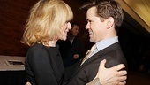 Lombardi's Judith Light pulls in fellow first-time nominee The Book of Mormon's Andrew Rannells for a hug.