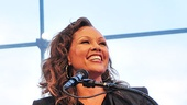 Host Vanessa Williams welcomes guests to the 2011 Broadway.com Audience Choice Awards, with the sky above Central Park forming a beautiful background at the Allen Room.