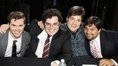 Andrew Rannells, Josh Gad, musical director Stephen Oremus and composer Bobby Lopez are excited to greet their Mormon followers.