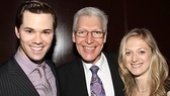 The Book of Mormon&#39;s Andrew Rannells says hello to fellow nominee Tony Sheldon of Priscilla Queen of the Desert and double nominee Marin Ireland (In the Wake and Three Sisters). 