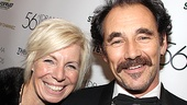 Mark Rylance, up for Outstanding Actor for his work in Jerusalem, beams in a photo with wife Claire van Kampen.
