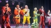 Showing off their colorful costumes during the Mamma Mia! curtain call dance party are Clarke Thorell, Judy McLane, John Dossett, Lisa Brescia, Patrick Boll and Jennifer Perry.