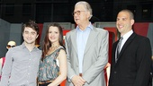 How to Succeed stars Daniel Radcliffe, Rose Hemingway and John Larroquette are greeted by Lord & Taylor VP Rich Weiner.