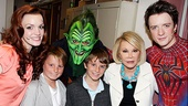 The same weekend, Joan Rivers returned to Spider-Man for a second time!Turn Off the Dark's leading stars Jennifer Damiano, Patrick Page and Spider-Man alternate Matthew James Thomas snap a photo with Rivers, her grandson Cooper (third from right) and family friend Russell.