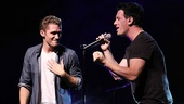"The audience goes wild as J.C. Chasez joins Matthew Morrison for a duet of the 'NSYNC ballad ""This I Promise You."""