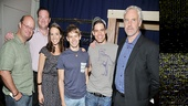A group shot of Nick Sullivan, Kevin Carolan, Kara Lindsay, Andrew Keenan-Bolger, Jeremy Jordan and John Dossett. See them onstage in Newsies at Paper Mill Playhouse beginning September 15. 