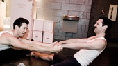 Now my prep work begins. Partner stretches with the incredibly lithe and limber Max Von Essen and his marvelous mustache.